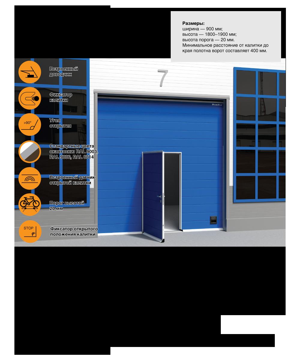 Врезные калитки для промышленных ворот ISD01 - Калитка серия V5