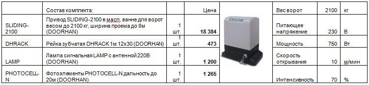 Цена привода SL-2100 KIT для откатных ворот